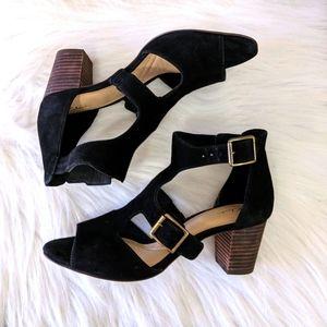 Clarks Black Suede chunky Heels